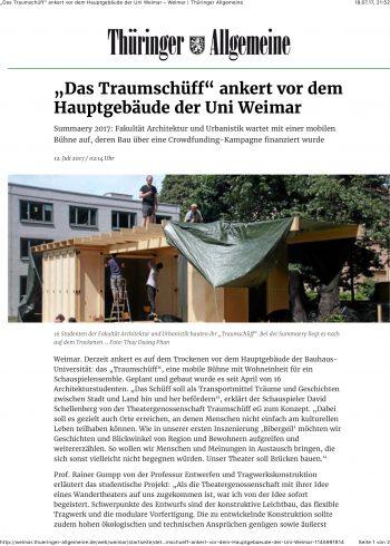 """Bildschirmfoto des Artikels """"""""Das Traumschüff"""" ankert vor dem Hauptgebäude der Uni Weimar"""", Thüringer Allgemeine, 12.07.2017"""