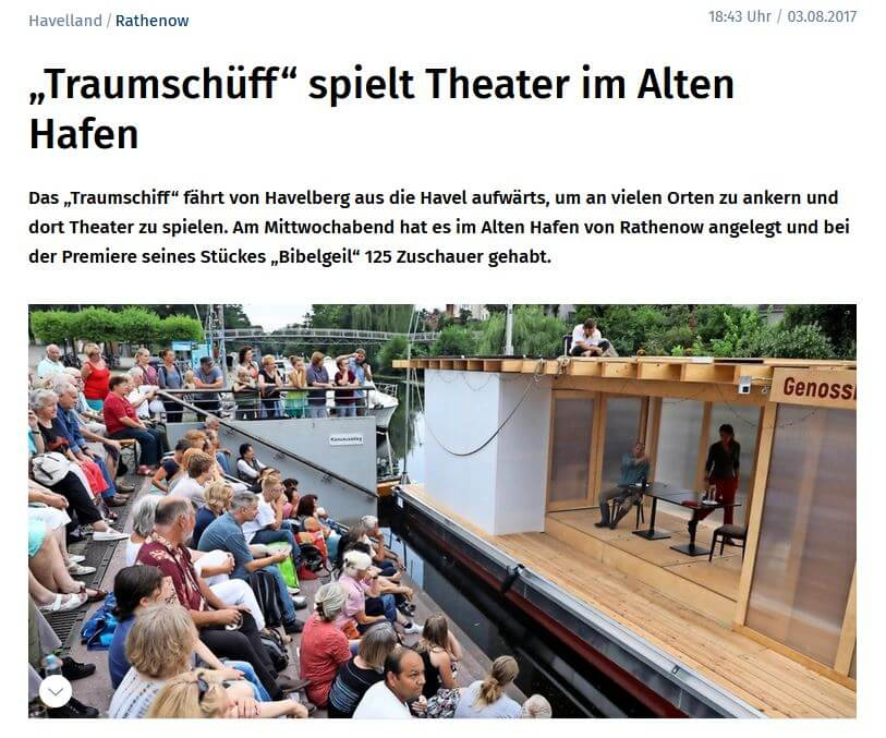 """Bildschirmfoto des Artikels """"""""Traumschüff"""" spielt Theater im Alten Hafen"""", Märkische Allgemeine Zeitung, 03.08.2017"""