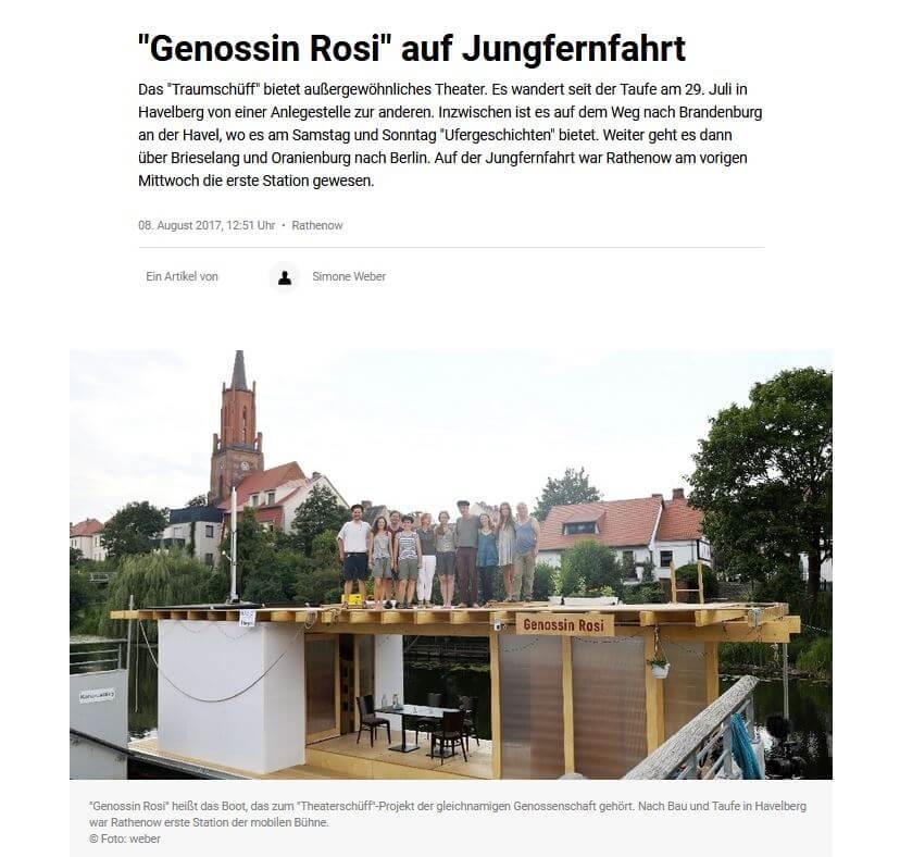 "Bildschirmfoto des Artikels ""Genossin Rosi auf Jungfernfahrt"", MOZ.de, 08.08.2017"