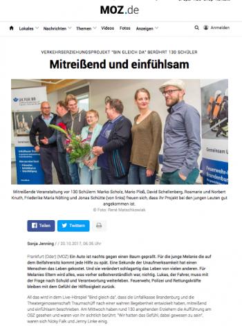 """Bildschirmfoto des Artikels """"Mitreißend und einfühlsam"""", MOZ, 20.10.2017"""
