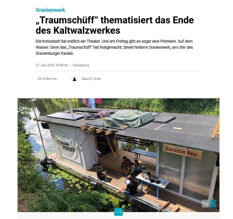 """Bildschirmfoto des Artikels """"Traumschüff thematisiert das Ende des Kaltwalzwerkes"""", MOZ.de, 25.06.2018"""