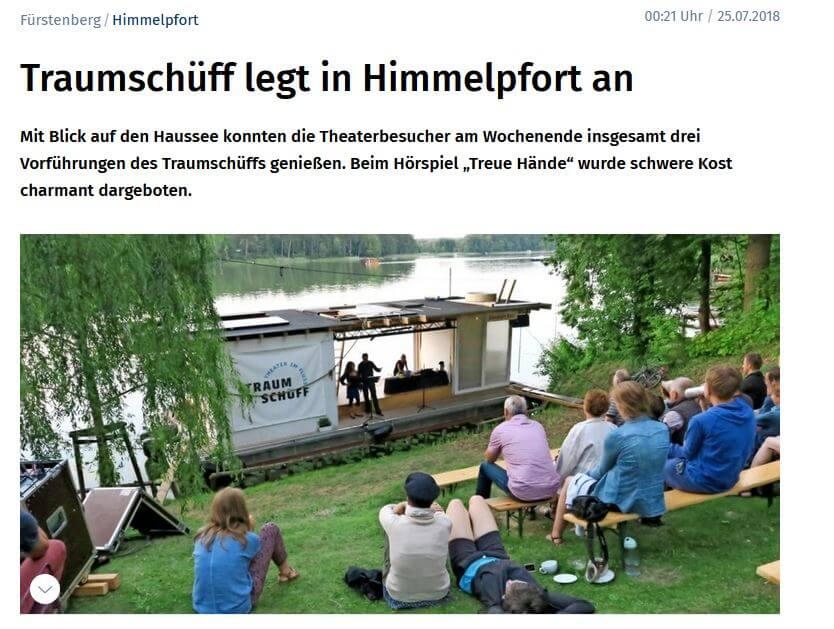 """Bildschirmfoto des Artikels """"Traumschüff legt in Himmelpfort an"""", MAZ, 25.07.2018"""