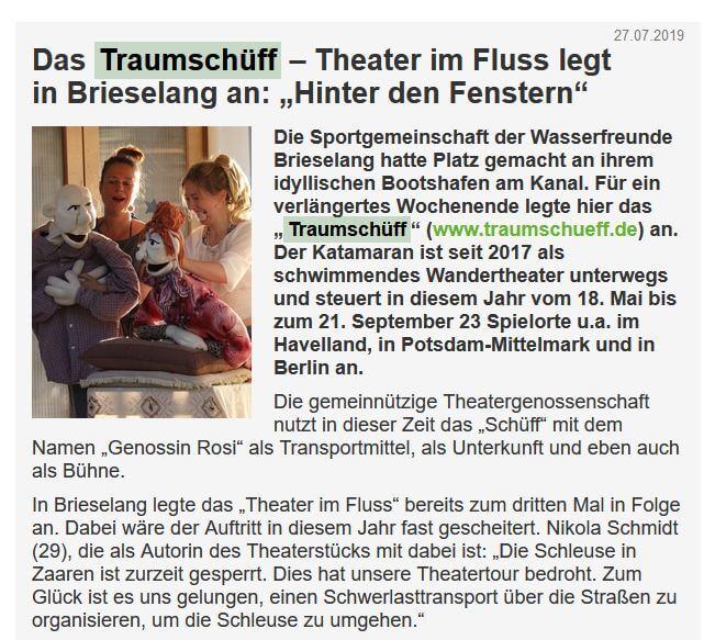 """Bildschirmfoto des Artikels """"Das Traumschüff – Theater im Fluss legt in Brieselang an: """"Hinter den Fenstern"""""""", Falkensee aktuell, 27.07.2019"""