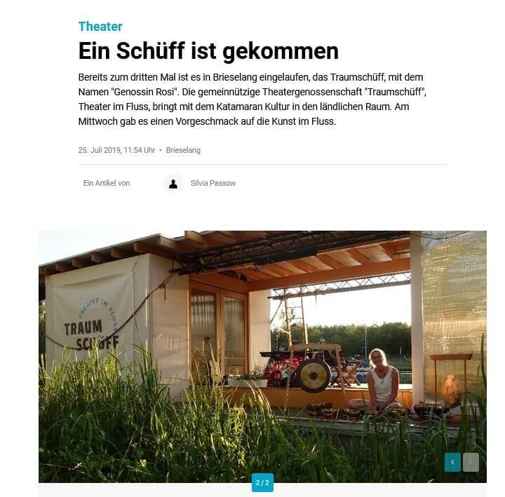 """Bildschirmfoto des Artikels """"Ein Schüff ist gekommen"""", MOZ.de, 25.07.2019"""