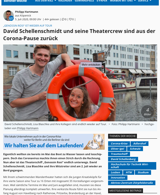 Berliner Woche – David Schellenschmidt und seine Theatercrew sind aus der Corona-Pause zurück