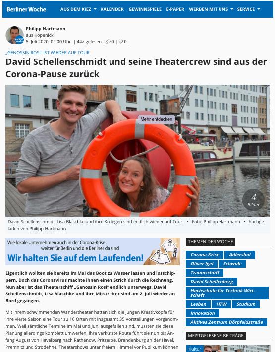 """Bildschirmfoto des Artikels """"David Schellenschmidt und seine Theatercrew sind aus der Corona-Pause zurück"""", Berliner Woche, 05.07.2020"""