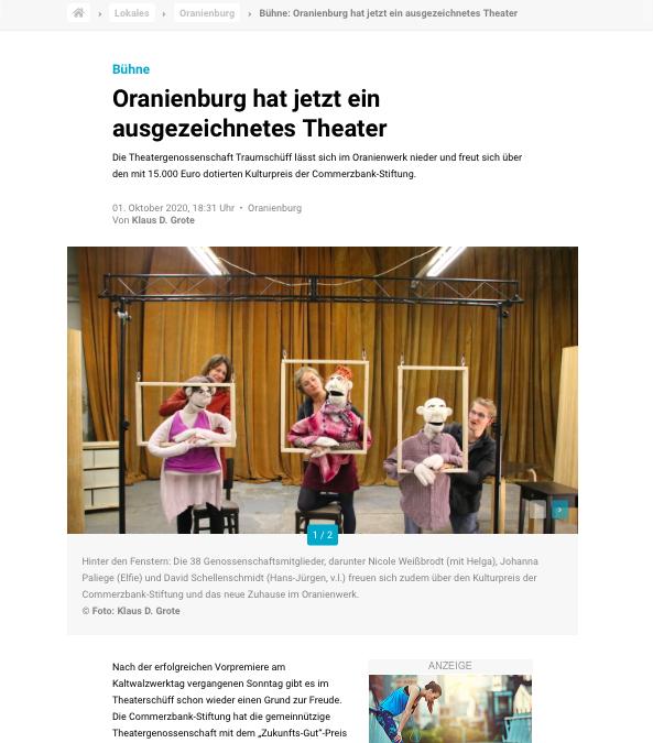 MOZ – Bühne: Oranienburg hat jetzt ein ausgezeichnetes Theater