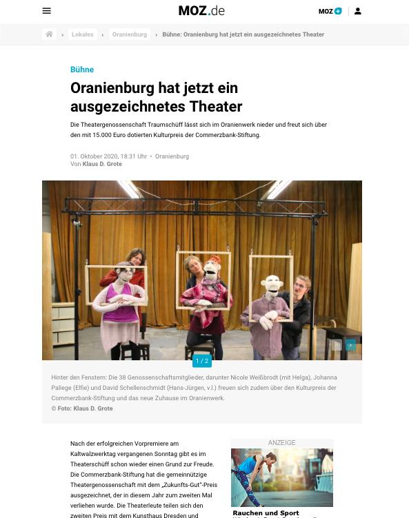 """Bildschirmfoto des Artikels """"Oranienburg hat jetzt eigenes Theater"""", MOZ, 01.10.2020"""