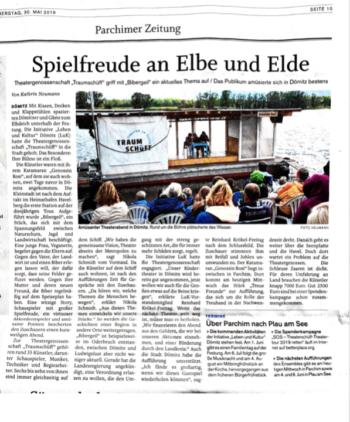"""Scan des Artikels """"Witz und Spielfreude am Elbufer"""", Ludwigsluster Tagesblatt, 29.05.2019"""
