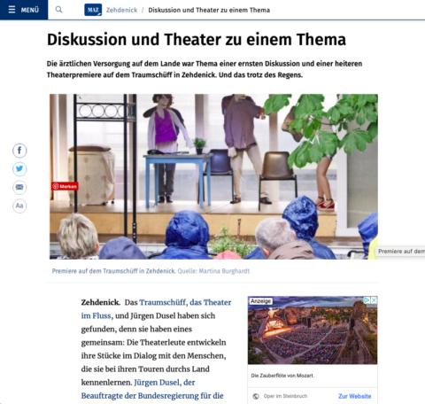"""Bildschirmfoto des Artikels """"Diskussion und Theater zu einem Thema"""", Maz.de, 07.07.2019"""