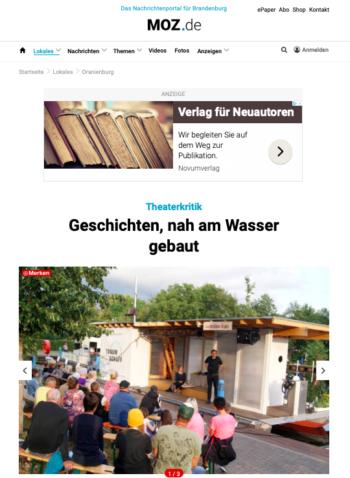 "Bildschirmfoto der Theaterkritik ""Geschichten, nah am Wasser gebaut"", MOZ.de, 14.07.2019"