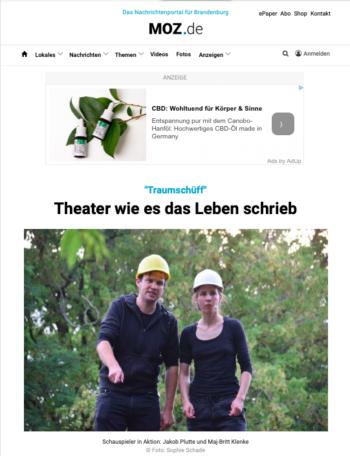 """Bildschirmfoto des Artikels """"Theater wie es das Leben schrieb"""", MOZ.de, 21.07.2019"""
