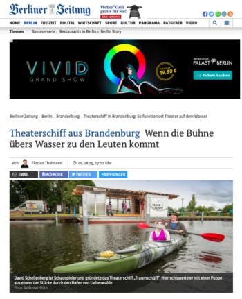 """Bildschirmfoto des Artikels """"Theaterschiff aus Brandenburg: wenn die Bühne über's Wasser zu den Leuten kommt"""", Berliner Zeitung, 01.08.2019"""