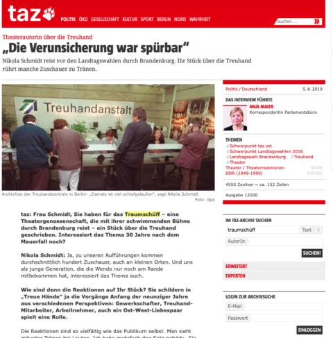 """Bildschirmfoto des Artikels """"Die Verunsicherung war spürbar"""", taz, 05.08.2019"""