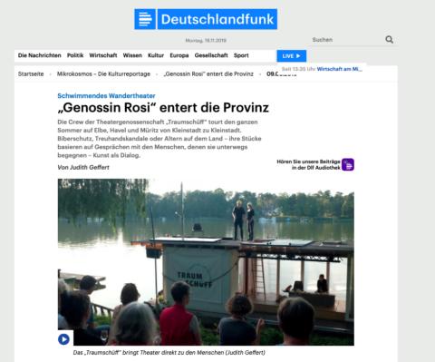"Bildschirmfoto des Beitrages """"Genossin Rosi"" entert die Provinz"" (Kulturreportage. 43 Min.), Deutschlandfunk, 09.08.2019"